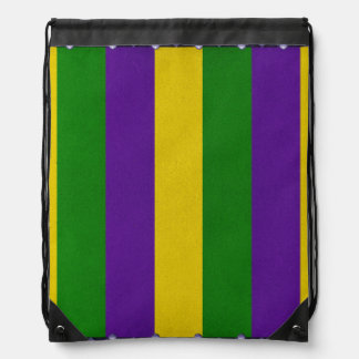 Mardi Gras Striped Pattern Drawstring Bag