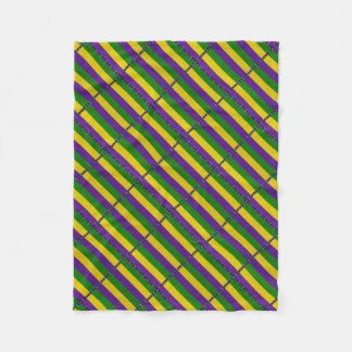 Mardi Gras Striped Pattern Fleece Blanket