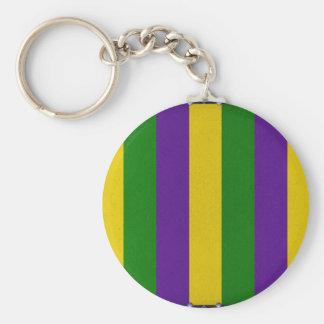 Mardi Gras Striped Pattern Keychain