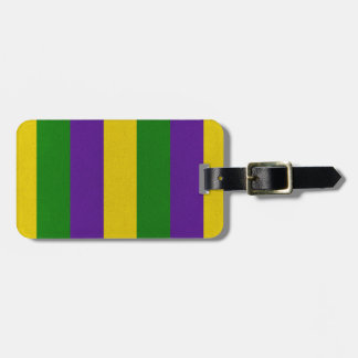 Mardi Gras Striped Pattern Luggage Tag