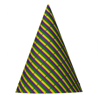 Mardi Gras Striped Pattern Party Hat