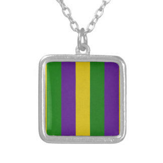 Mardi Gras Striped Pattern Silver Plated Necklace