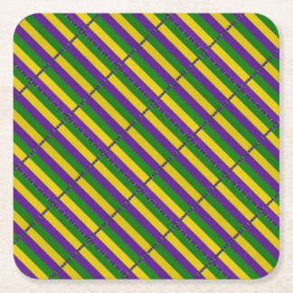 Mardi Gras Striped Pattern Square Paper Coaster