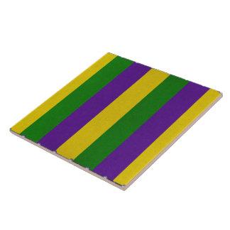 Mardi Gras Striped Pattern Tile