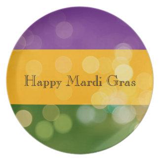 Mardi Gras Striped tri-colored Plate w/ Bokeh