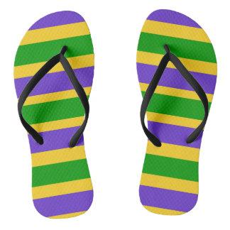 Mardi Gras Stripes Colors Flip Flops
