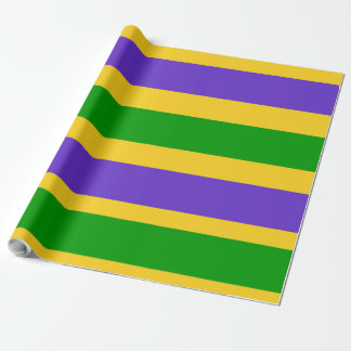 Mardi Gras Stripes Colors Wrapping Paper