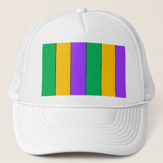 Mardi Gras Stripes Pattern Green Yellow Purple Trucker Hat