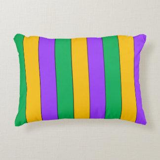 Mardi Gras Stripes Pattern Purple Green Yellow Decorative Pillow