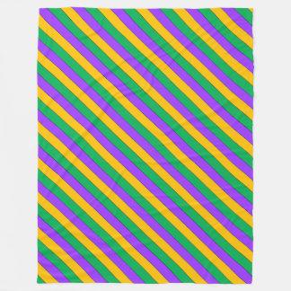 Mardi Gras Stripes Pattern Purple Green Yellow Fleece Blanket