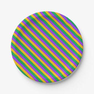 Mardi Gras Stripes Pattern Purple Green Yellow Paper Plate