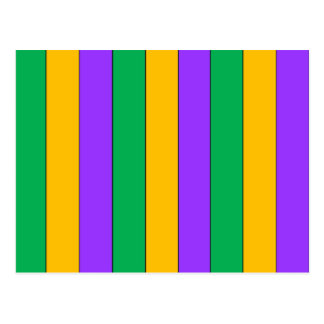 Mardi Gras Stripes Pattern Purple Green Yellow Postcard