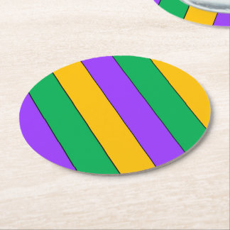 Mardi Gras Stripes Pattern Purple Green Yellow Round Paper Coaster