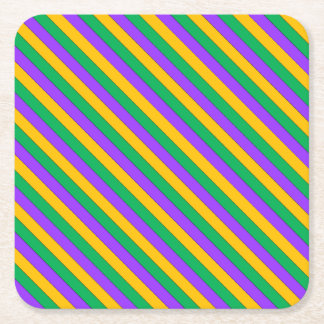 Mardi Gras Stripes Pattern Purple Green Yellow Square Paper Coaster