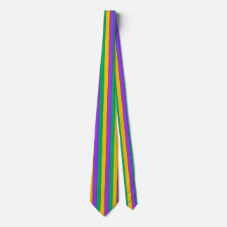 Mardi Gras Stripes Pattern Purple Green Yellow Tie