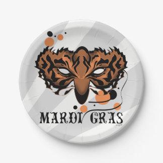 "MARDI GRAS TIGER CARTOON  Paper Plates 7"""