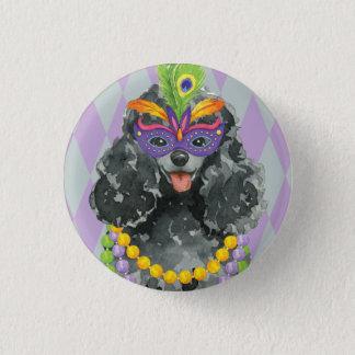 Mardi Gras Toy Poodle 1 Inch Round Button