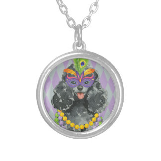 Mardi Gras Toy Poodle Silver Plated Necklace