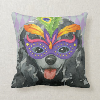 Mardi Gras Toy Poodle Throw Pillow