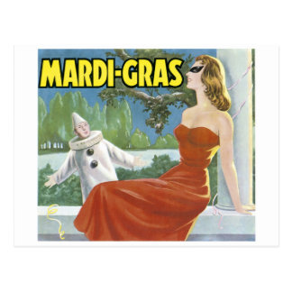 MARDI-GRAS VINTAGE ART POSTER POSTCARD