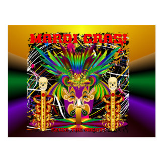 Mardi Gras Witch Doctor-Skull V-3-T Postcard