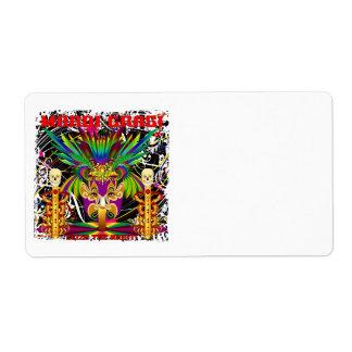 Mardi Gras Witch Doctor-Skull V-3-T Shipping Label