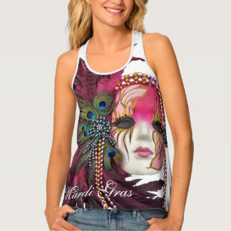 """Mardi Gras"" With Pink Mask Beads & Feathers Tank Top"