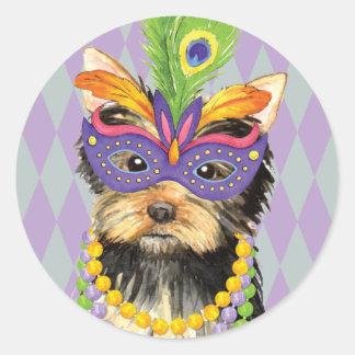 Mardi Gras Yorkie Classic Round Sticker