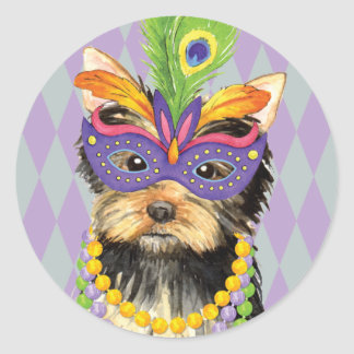 Mardi Gras Yorkie Round Sticker