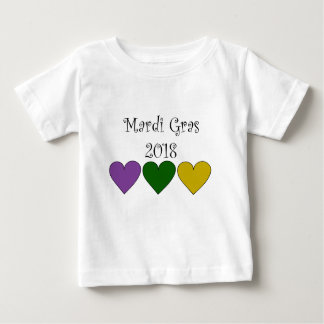 MardiGrasPurpleGreenGoldHearts Baby T-Shirt