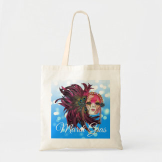 Mardis Gras Mask with Feathers and Beads Tote Bag