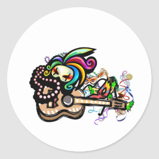 Mardis Gras Ukulele Classic Round Sticker