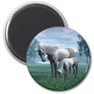 Mare and Foal 2 Inch Round Magnet