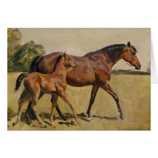 Mare and Foal by Munnings Card