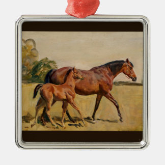 Mare and Foal by Munnings Metal Ornament