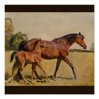 Mare and Foal by Munnings Poster