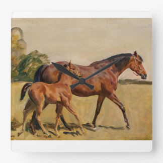 Mare and Foal by Munnings Square Wall Clock