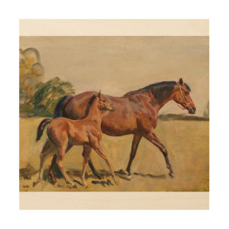 Mare and Foal by Munnings Wood Print