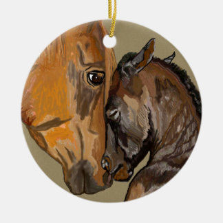 Mare and Foal Ceramic Ornament