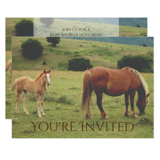 Mare and Foal Horse Neutral Baby Shower Invitation
