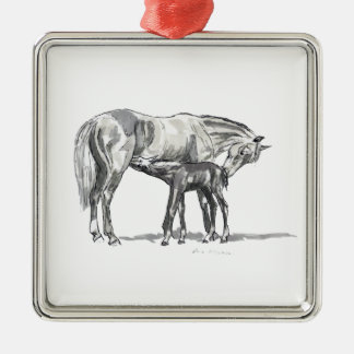 Mare and Foal Metal Ornament