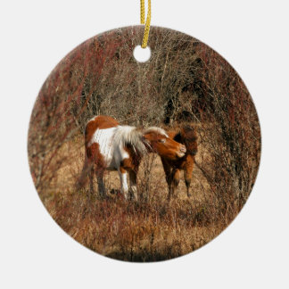Mare and Foal Round Ceramic Ornament