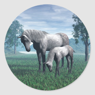 Mare and Foal Round Sticker