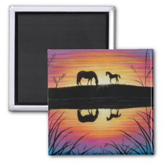 Mare and Foal Sunrise horse magnet square