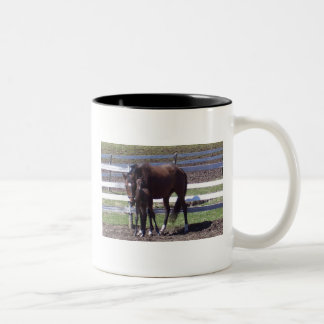 Mare and foal Two-Tone coffee mug