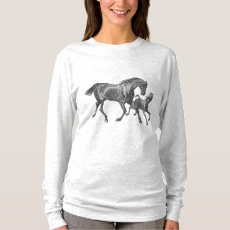 Mare and Foal Vintage Print Mother Love T-Shirt