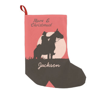 Mare E Christmas Cowboy Silhouette Boot Small Christmas Stocking