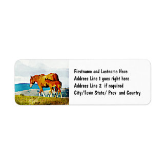 Mare with Foal on the Ridge Return Address Label