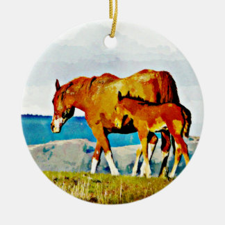 Mare with Foal on the Ridge Round Ceramic Ornament