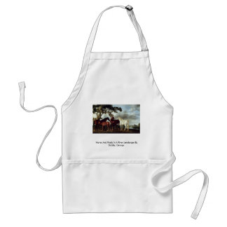 Mares And Foals In A River Landscape Adult Apron